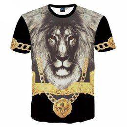 Wholesale 3d gold lion shirt online – design 3D T shirts men s d t shirt short sleeve printing The Lion King with Gold medal d Tshirt for men creative Tops tees MDT28