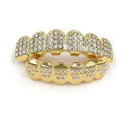 Venta al por mayor de Color dorado Iced Out Teeth Grin Top Bottom Bling Men Women Jewelry Nuevo