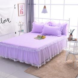 $enCountryForm.capitalKeyWord NZ - Luxury Elegant Lace bed skirt girls princess wedding set bedding sets twin full king queen 3pcs Pure color Violet bedspread sets