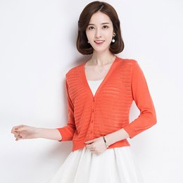 Discount womens short cardigans - womens shrug tops Ultra Thin Cardigan Open Casual New Summer Fashion Hollow Out Casual 3 4 Sleeve Knitted Sweater