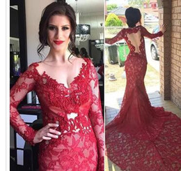 $enCountryForm.capitalKeyWord Australia - Vestidos De Fiesta 2017 Burgundy Red Lace Mermaid Evening Dresses Long Sleeves Sheer Backless Prom Party Dreses Special Occasion Gowns