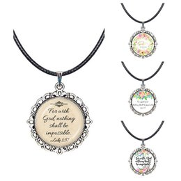 Discount god necklaces - Christian Jewelry Bible Luke 1:37 Quotes Pendant Necklace For With God,Nothing Shall Be Impossible Letter Faith Choker N