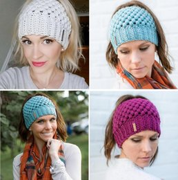 6d4490419dd Hand made knit Hats online shopping - New Women Ponytail Beanies Hand Made  Back Hole Pony
