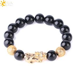 $enCountryForm.capitalKeyWord Australia - CSJA Men Obsidian Beads Bracelet 12mm Big Size Natural Gems Stone Gold Brave Troops Carved Ball Male Guardian Jewelry Birthday Gift S182