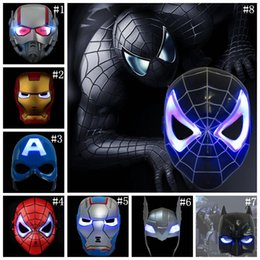 spiderman costume women 2018 - LED Captain America Masks 8 Styles Glowing Lighting Spiderman Hero Figure Cosplay Costume Party Mask 300pcs OOA5455 disc