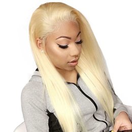 Brown Blond Hair Australia - Blonde Full Lace Wig Pre Plucked With Baby Hair 613 Lace Front Wig 130% Density Brazilian Straight blond Human Hair Wigs