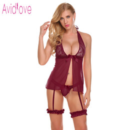 16ba55237b Avidlove Sex Lingerie Set Sexy Hot Erotic Underwear Women Lace Babydoll  Backless Slit Bra with Suspenders G-String Porn Clothes