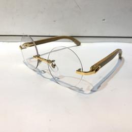 2da03e143b Lujo 81339128 Gafas graduadas de la vendimia Marco redondo Hombres de  madera Anteojos de diseñador con estuche original Diseño retro Chapado en  oro
