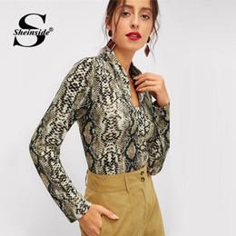 183c0269ada9cf Snake Skin Tops Canada - Sheinside Long Sleeve Women Tee Shirt Fashion  Office Ladies V Neck