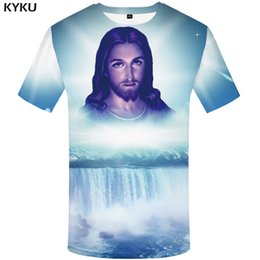 $enCountryForm.capitalKeyWord NZ - wholesale Jesus T Shirt Men Character Tshirt Waterfall 3d Print T-shirt Punk Rock Clothes Mountain Mens Clothing Summer Casual Tops