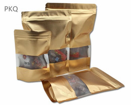 Stand up zip poucheS wholeSale online shopping - 50pcs sizes Gold embrass Stand Up Zip lock Bag Clear Windowed Self Seal Zipper Food Storage Bag Retail Packaging Pouch