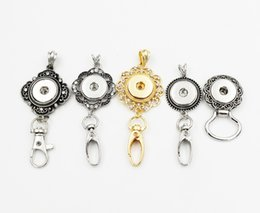 metal snap flower buttons Australia - 5 Style Mixed Fashion Flowers Badge Lanyard Rhinestone Snap Keychain Necklace Fit For 18mm Metal Snap Button Jewelry
