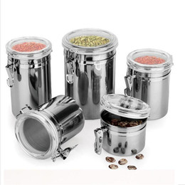 Discount sugar pots - Brushed Stainless Steel Coffee Airtight Canister Flour Sugar Container Holder Cans Pots with Acrylic Lid 073