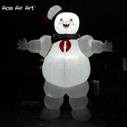Man tents online shopping - Giant led cartoon charactor Lighting Advertising Inflatable Ghostbuster Stay Puft Inflatable Marshmallow Man For Halloween yard decoration