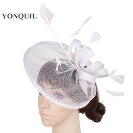 occasion hats UK - High quality 17 color sinamay hair fascinators accessories trims with feather adorned cocktail hats white wedding occasion headwear SYF276