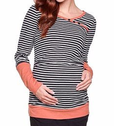 striped shirts for women 2019 - Fashion style Cotton Comfortable Nursing Clothes Nursing Tops Maternity shirt Breastfeeding Clothes for Pregnant Women d