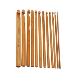 knitting machine tools UK - Cheap Sewing Tools & Accessory 12pcs set Durable Knitting Needle Set Bamboo Handle Crochet Hook Knit Weave Yarn Craft Sewing Accessories