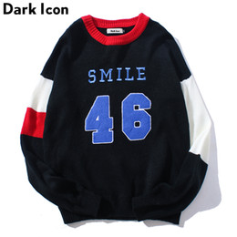 Number Blocks Australia - DARK ICON Number 46 Color Block Pullover Men's Sweater 2018 Winter Preppy Style Sweaters for Men Casual Sweater Man Black White