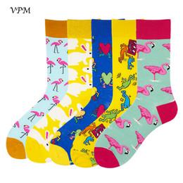 Sock Packs NZ - VPM Men's Causal Socks Combed Coon Colorful Funny Happy Rabbit Flamingos Paern Socks Wedding Gift Socks 5 Paris Pack