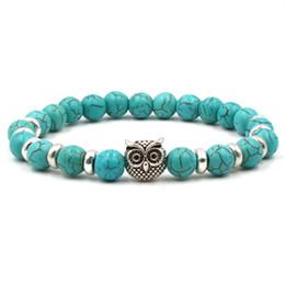 $enCountryForm.capitalKeyWord NZ - Lovers Fashion 8mm Turquoise Bracelet Owl Buddha Lion Hand Elephant Bracelets 8mm Natural Stone Gold Silver Bangles For Women & Men Gift