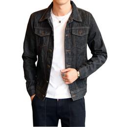 Korean Motorcycle Jacket Australia - Spring Men's Denim Jacket Men's   Women's Motorcycle Jackets Trend Youth Korean Slim Jacket Color DarkBlue   Black