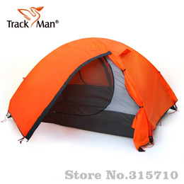 one pole tent 2019 - Trackman aluminum pole high quality outdoor family Camping Tent 2 Person One Bedroom Double Layers 3 Season Tent Outdoor