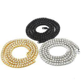 Hip hop de los hombres estadounidenses y europeos 1 hilera de collares de aleación de diamantes llenos de una hilera collar de joyería tricolor opcional envío gratis