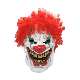 Full Face Clown Mask Australia - Halloween Mask Clown Dress Up Costumes Latex Clown Mask Full Cosplay Horror Adult Masquerade Party Ghost Big Mouth Red Nose