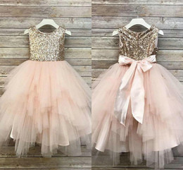 ribbons bows for skirts 2019 - Cute Little Girls Dresses for Party Champagne Sequined Pink Tulle Ribbons Sashes Bow Tiered Asymmetrical Skirt Children