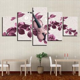 Discount pictures purple flowers for walls - Canvas Pictures For Living Room Framework 5 Pieces Pink Purple Flowers And Violin Paintings Home Decor HD Prints Poster