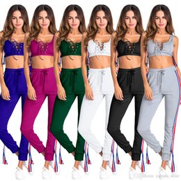 ladies leisure tracksuits Canada - Cheap Price Two Piece Set Tracksuit Sexy lace up Sleeveless short tops And Pants Suit ladies Sexy Leisure Two Piece Tracksuit Sweatsuit