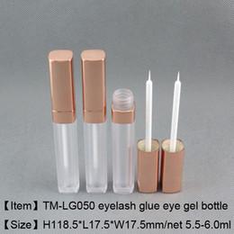 Gel Eyes Liner Australia - high quality 5.5ml square liquid eye liner bottle eye gel glue bottle foggy white empty package 250pcs lot