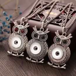 Noosa Chunk Jewelry Wholesale Australia - Noosa Style Jewelry Vintage Metal Owl Snap Button Necklaces fit 18mm Snaps Interchangeable Noosa Chunks Wholesale Snap Pendants Necklaces