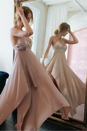 Wholesale criss cross asymmetrical resale online – Sexy Asymmetrical Chiffon A Line Prom Dresses Spaghetti Halter Criss Cross Backless Maid of Honor Party Gowns