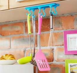 GaraGe tool hanGers online shopping - Wall Hook new Sticky Hanger Storage Organization Kitchen Door Self Adhesive Bathroom Sticky Hanger Six Hook Hanger Cabinets Adhesive Hook
