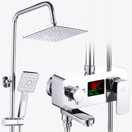 $enCountryForm.capitalKeyWord NZ - Temperature Display Digital Luxury Wall Mounted Square Shape Bathroom Shower Faucet Set Single Handle Bathtub Mixer Tap With Shelf