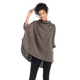 Blue Cotton Cloak Australia - Autumn and winter women's sweater new high collar irregular cloak jacket bat sleeve sweater female
