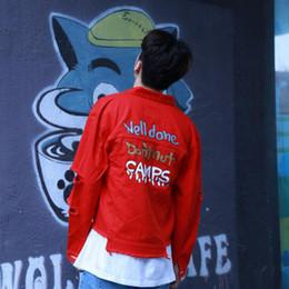 Distressed White Denim Shorts Canada - Men's Distressed Ripped Denim Jacket Coat Vinage Male Short Jean Jackets Destroy Holes Washed Denim Jackets White Pink Red