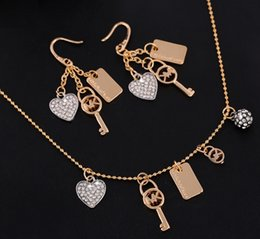 M Earrings NZ - Fashion necklace pendant earrings full drill M letter octagonaltHeart key golden silver two-piece diamond jewelry