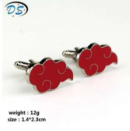 Wholesale Japan Hot Anime Naruto Cufflinks Kunai Akatsuki Member Cufflinks Red Cloud Cuff Links for Men s Shirt Cuff Buttons pins
