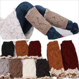 Wholesale Lace Boot Cuffs Women Knit Fashion Leg Warmers Crochet Stretch Trim Toppers Short Boot Socks Wedding Bride Chirstmas Foot Cover Socks B3730