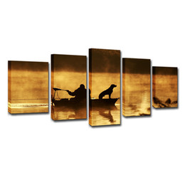 $enCountryForm.capitalKeyWord UK - Home Wall Art Room Decor Pictures HD Printed Canvas 5 Pieces Sunset Boat Fisherman And Dog Paintings Poster