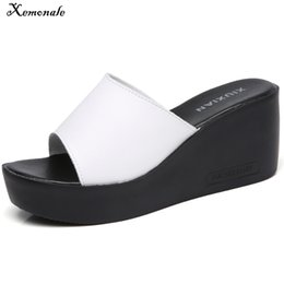 092346fd48a95 Xemonale 2018 Summer Women Slippers Mules Shoes Casual Wedges Platform  Sandals Shoes Women Leather Thick Sole Flip Flops