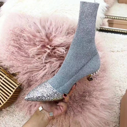 $enCountryForm.capitalKeyWord NZ - Hot Sale Girls Rhinestone Pointed Toes High Heel Girls New Fashion Glitter Mixed Color Winter Sock Boots Girls Fashion Half Boots
