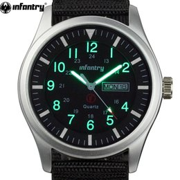 glowing watches 2020 - INFANTRY Watch Men Glow in Dark Wristwatch Mens Watches Top Army Sport Date Day Nylon Relogio Masculino cheap glowing wa