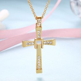 $enCountryForm.capitalKeyWord NZ - Classic Design Alloy Jesus Cross Gold Chain Hip Hop Jewelry Mens Necklace Movie Characters Statement Necklaces The Fast And Furious