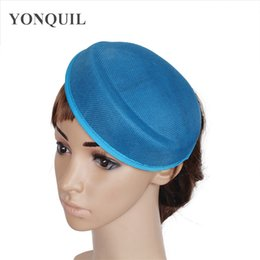 hats gray hair Australia - Sea blue or multiple colors Imitation Sinamay 18CM fascinator base DIY hat women party headpiece Occasion wedding hair accessory SYB08
