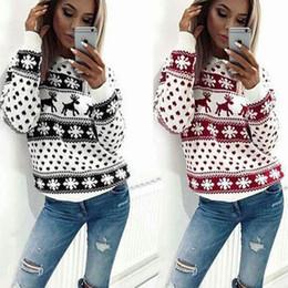 56dc2baf2 Mulher de Natal Cervos Blusas De Malha De Algodão Mistura Quente Pullover  Vermelho Preto Tripulação Pescoço Blusas Frete Grátis