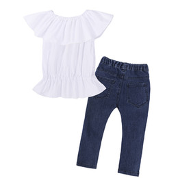 d82457fb88b 2018 summer bursting girl pants suit Fashion short sleeves+Ripped jeans  Cotton comfort for 1-6 years old Girls  suit