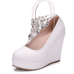 778b72a0072f32 New Crystal chain round toe shoes for women white simple heels fashion  platform beading wedding shoes wedge heels Plus Size Bridal heels